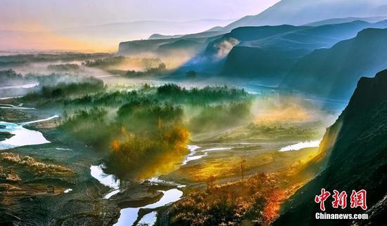 新疆尼勒克縣喀什河谷層林盡染美如畫