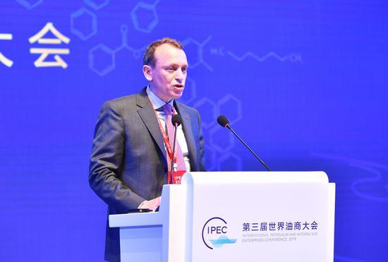 道达尔公司贸易和供应板块全球总裁托马斯•韦梅尔做主旨演讲。 张茵摄