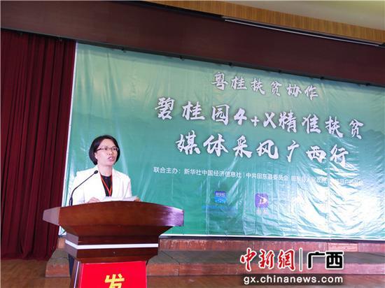 图为田东县委常委、宣传部部长罗玉萍致辞