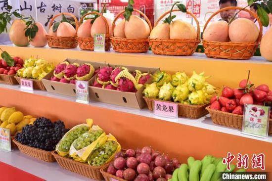 图为特色农产品展示 田阳宣 摄
