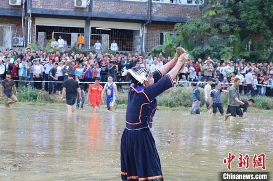 游客和當地民眾一起體驗稻田摸魚游戲。 陳秋霞 攝