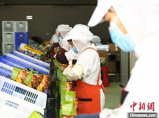 广西螺状元食品科技股份有限公司包装车间,工人正在包装螺蛳粉。 朱柳融 摄