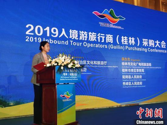 桂林市常委、宣传部部长,副市长韦凤云致辞。 欧惠兰 摄