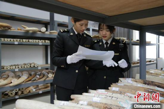 图为海关工作人员清点移交物品 刘燕 摄