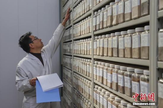 """12月10日,""""土壤檔案館"""" 工作人員在核對土壤樣品信息。當日,記者探訪了位于貴州貴陽烏當區的貴州省耕地質量地球化學調查評價副樣庫。該庫是一個集土壤樣品存儲和數據管理系統于一體的智能化""""土壤檔案館"""",館內擺放著來自貴州88個縣(市、區)的47萬件土壤樣品, 該館可實現對土壤樣品采集點信息、存儲位置信息的規范化管理,同時能方便快捷地獲取土壤樣品及相關數據等信息。中新社記者 瞿宏倫 攝"""