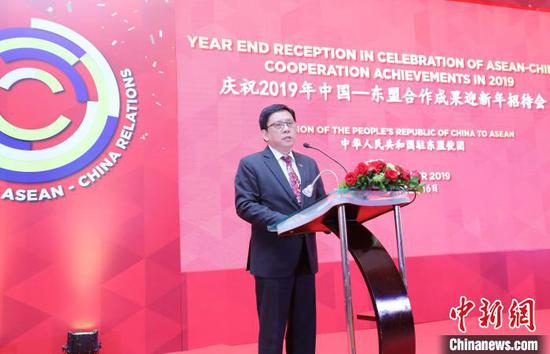 图为中国-东盟关系协调国菲律宾常驻代表诺艾尔大使致辞。 林永传 摄
