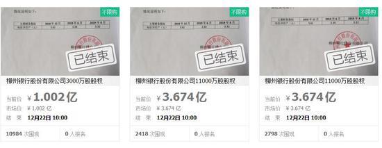 柳州银行股权流拍 来源:淘宝网截图