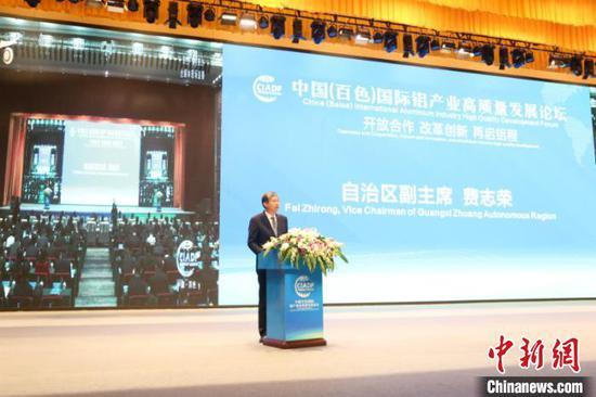图为广西壮族自治区副主席费志荣致辞 林浩 摄