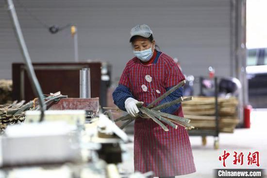 工人正在加工竹子。 朱柳融 摄