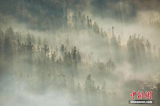 1月5日,贵州毕节迎来大雾天气,整个城市如云中楼阁一般,若隐若现。大雾给冬天点缀出别样美景,田野和城市构成了一幅幅美丽的画卷。文/图 石小杰 王纯亮
