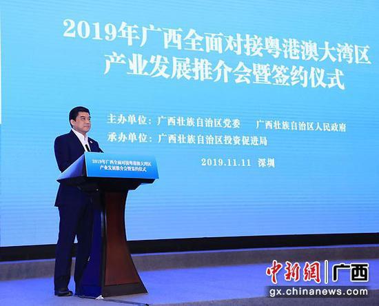 图为2019年11月11日,广西全面对接粤港澳大湾区产业发展推介会暨签约仪式在深圳举办。