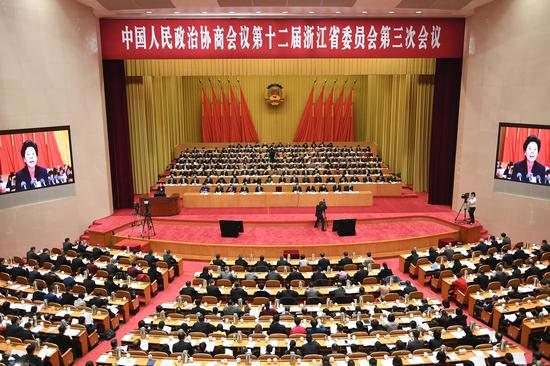 浙江省政协十二届三次会议开幕。 张茵供图