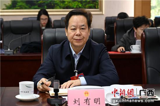 1月12日,中共崇左市委员会书记刘有明参加崇左代表团审议政府工作报告。  中新社记者 杨志雄 摄