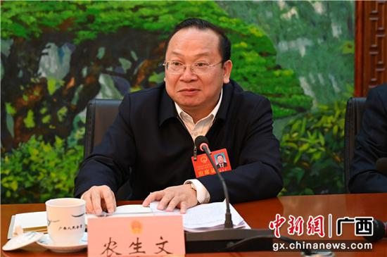 中共来宾市委员会书记农生文参加来宾代表团审议政府工作报告。中新社记者 杨志雄 摄