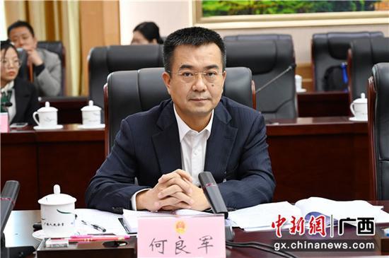 崇左市市长何良军参加崇左代表团审议政府工作报告。  中新社记者 杨志雄 摄
