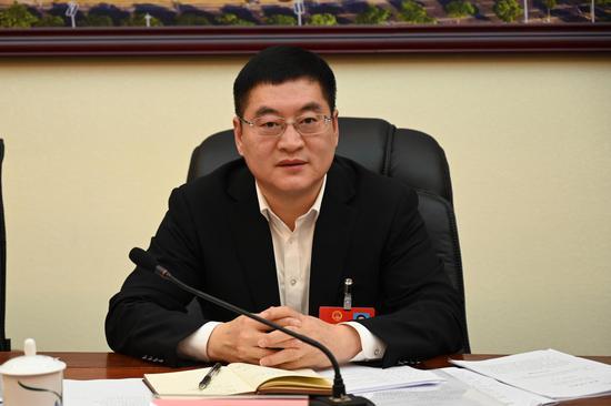中共防城港市委员会书记李延强参加防城港代表团审议。 中新社记者 杨志雄 摄