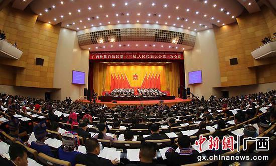 1月12日,广西壮族自治区十三届人大三次会议在南宁市开幕。图为开幕大会现场。广西人大供图