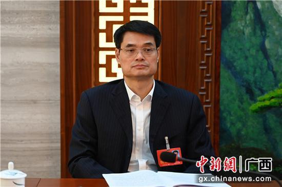 广西建工集团董事长金宁运参加来宾代表团审议政府工作报告。中新社记者 杨志雄 摄