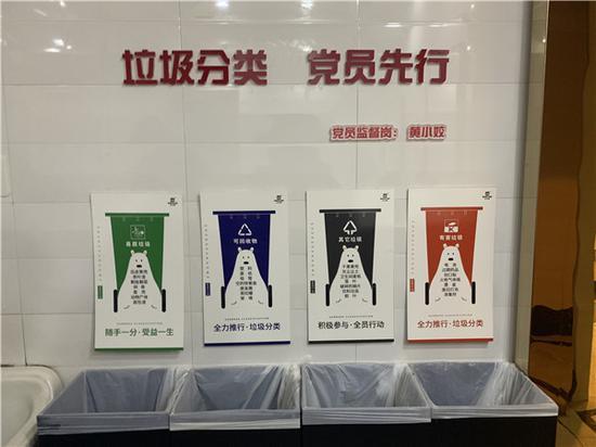 """垃圾桶緊靠墻壁,按照""""四分法""""擺放整齊 婺城宣傳部提供"""