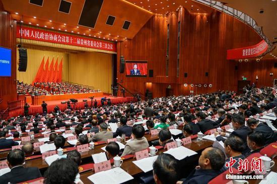 1月14日,中国人民政治协商会议第十二届贵州省委员会第三次会议在贵阳开幕。中新社记者 瞿宏伦 摄