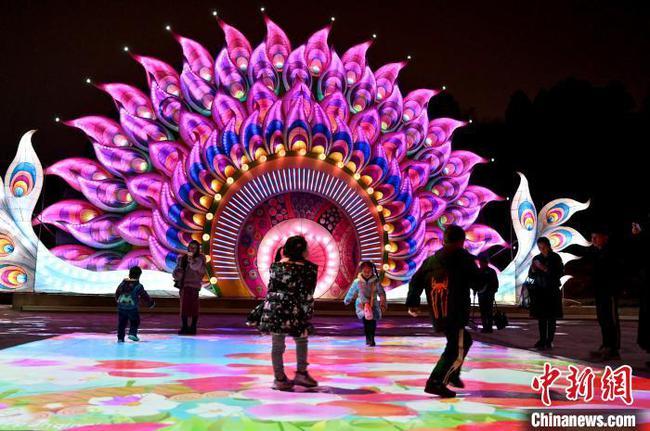 广西南宁迎新春大型灯展开放 游客穿梭灯海