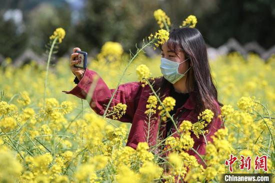 市民在油菜花丛中自拍。 瞿宏伦 摄