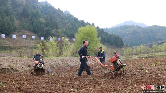 黔西县中建乡营盘村生态大米基地进行耕地 周顺和 摄