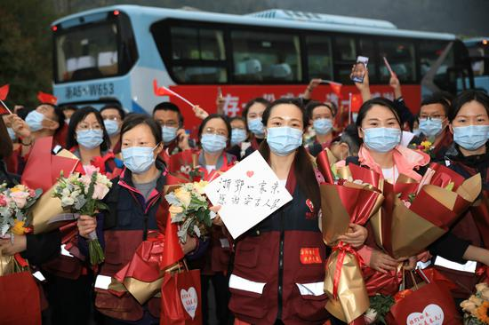 浙江省援武汉第二批返浙医疗队抵达安吉休养。张卉 摄