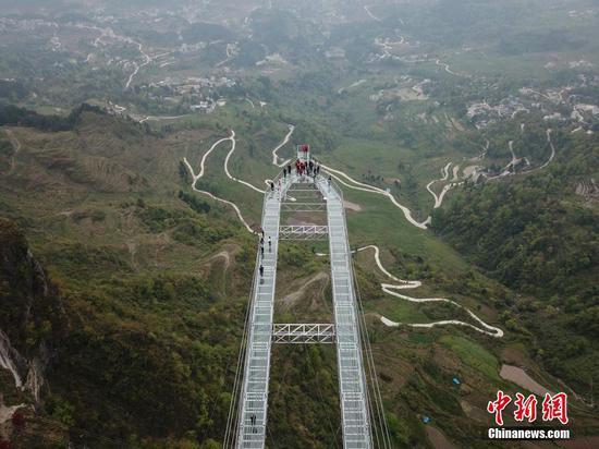 """航拍贵州石阡""""世界最长的悬挑空中玻璃走廊"""""""