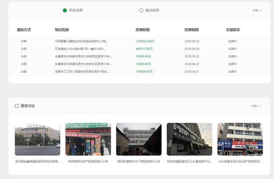 温州市农村产权交易服务中心网站上能看到各种信息和推荐项目。  网页截图