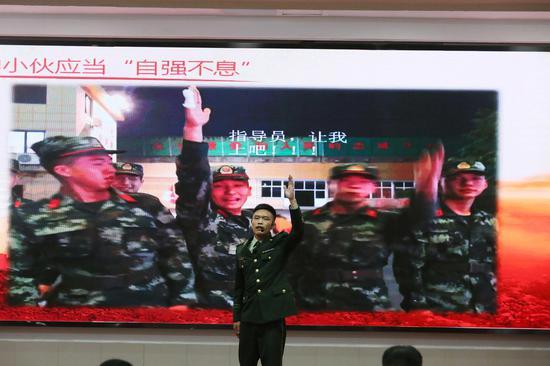 官兵演讲现场。王达 摄