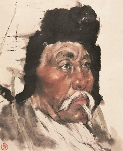 作品《草原老牧民》,创于1975年