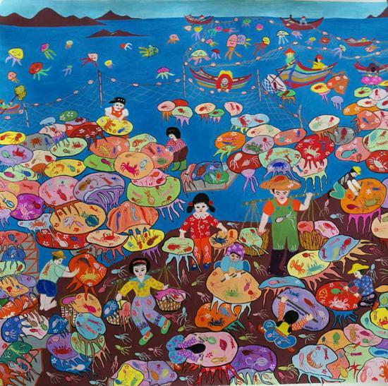 渔民画是浙南沿海独有的一种美术形式,独具海洋文化特色。 洞头宣传部供图