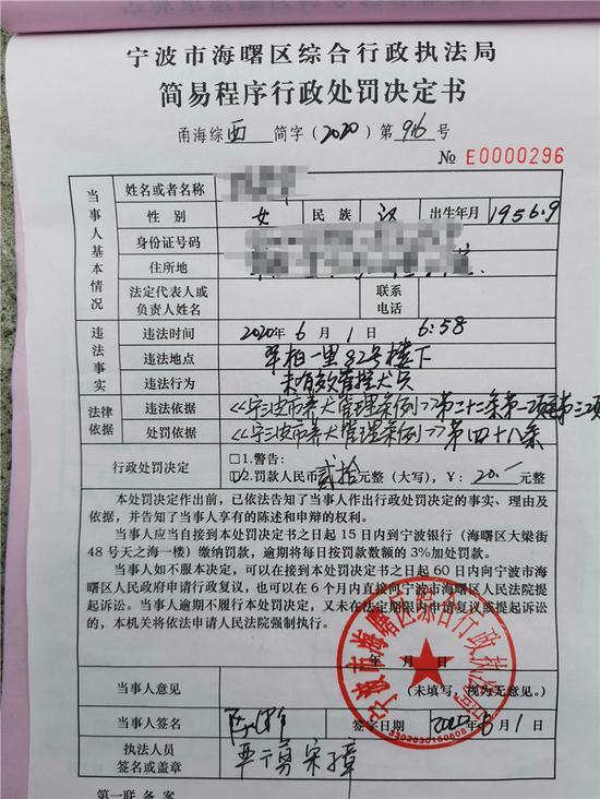 行政处罚决定书。  宁波城管提供
