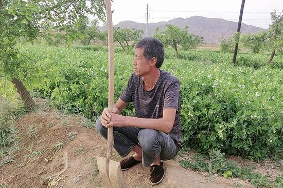 图为   父亲为农作物施肥休息间隙张 尊孝摄