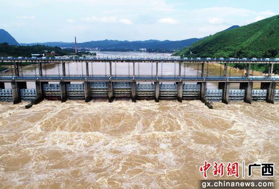 洪峰過境融江 廣西融安浮石水電站開閘泄洪