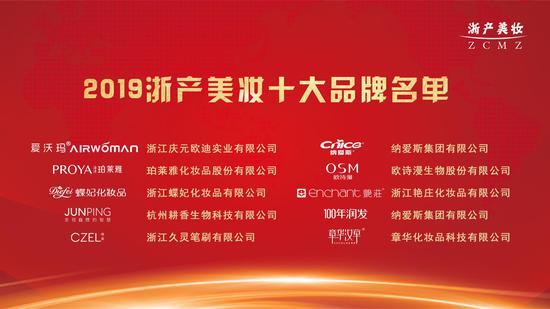 2019年浙产美妆十大品牌名单  省药品监督管理局供图