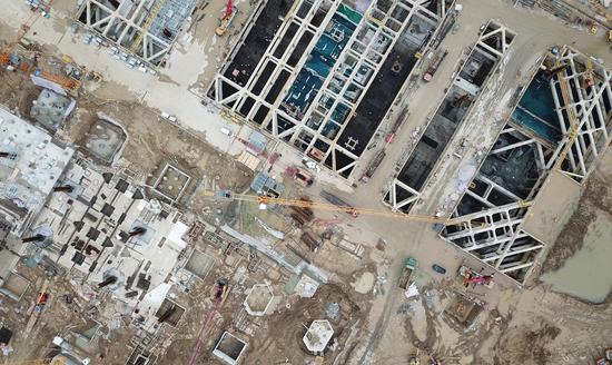 杭州西站枢纽建设工地。  王刚 摄