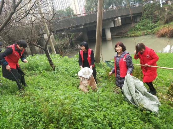 巾帼志愿服务队巡河捡垃圾 受访者供图