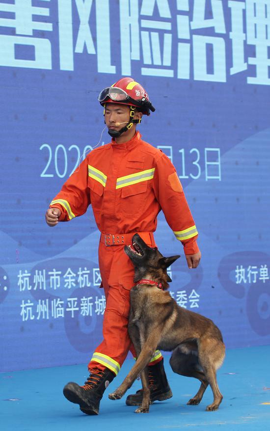 一位消防队员带搜救犬进入现场。  李子光(通讯员)