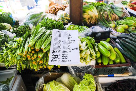 喀什市东湖社区菜市场内的出售的蔬菜及蔬菜价格公示表。
