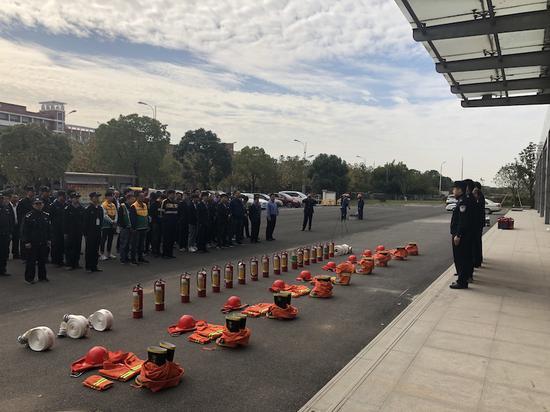 消防应急演练现场。义乌站派出所供图