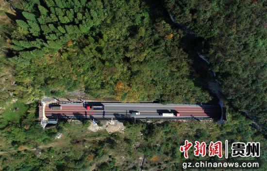 2020年11月12日,车辆行驶在国道212贵州省毕节市黔西县素朴镇境内的高家岩隧道(左)和九子寨隧道之间(无人机照片)。史开心 摄