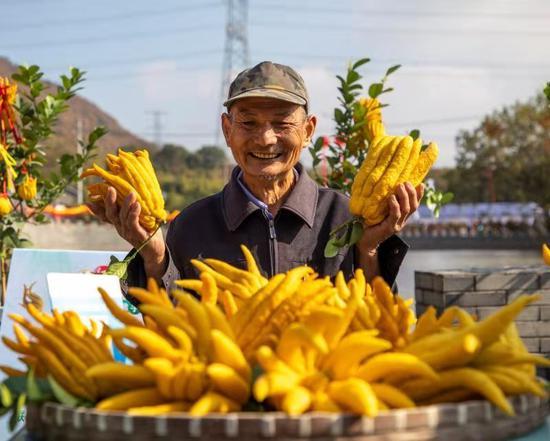 农户脸上洋溢着丰收的喜悦。 金东区摄影协会供图
