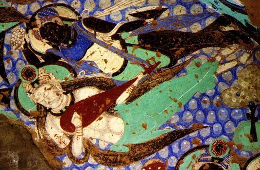 克孜尔石窟共有236个石窟,其中保存壁画的洞窟80多个,壁画总面积约1万平方米。