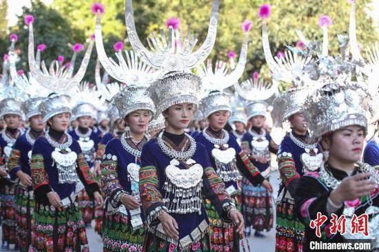 貴州雷山舉行2020慶苗年非遺巡游展演活動