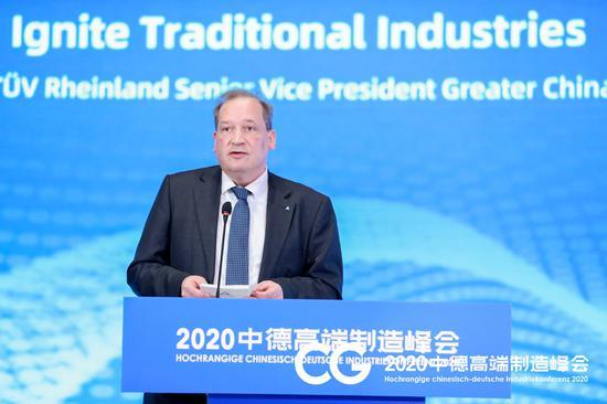 德国莱茵TÜV大中华区高级副总裁陶思腾(Dr.ThorstenKeiter)。  主办方提供