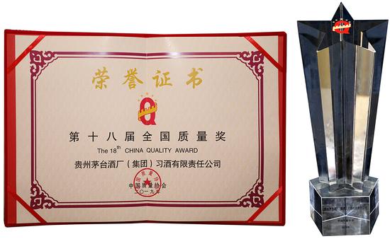 習酒榮獲第十八屆全國質量獎