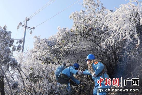 供电人员在冰天雪地中巡线。邓婕 摄