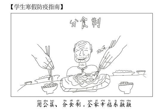 高泽昊创作的漫画,提到要使用公筷。 高泽昊 摄